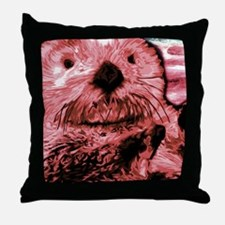 Painted Otter Throw Pillow