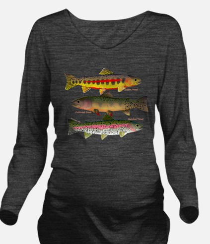 3 Western Trout Long Sleeve Maternity T-Shirt