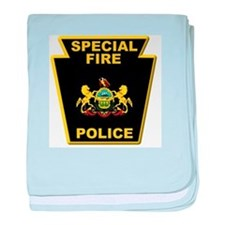 Fire police badge baby blanket