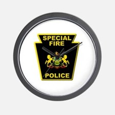 Fire police badge Wall Clock