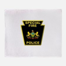Fire police badge Throw Blanket