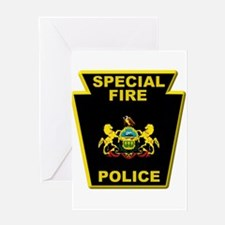 Fire police badge Greeting Cards