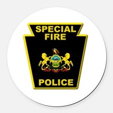Fire police badge Round Car Magnet