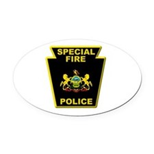 Fire police badge Oval Car Magnet