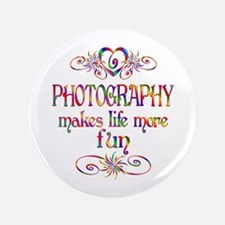 """Photography More Fun 3.5"""" Button (100 pack)"""