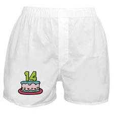 14 Year Old Birthday Cake Boxer Shorts
