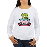 13 Year Old Birthday Cake Women's Long Sleeve Tee