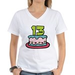 13 Year Old Birthday Cake Women's V-Neck T-Shirt