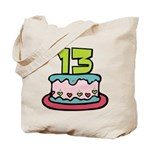 13 Year Old Birthday Cake Tote Bag