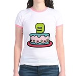 9 Year Old Birthday Cake Jr. Ringer T-Shirt