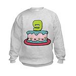 9 Year Old Birthday Cake Kids Sweatshirt