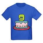 9 Year Old Birthday Cake Kids Dark T-Shirt