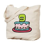9 Year Old Birthday Cake Tote Bag