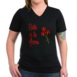 Bouquet Groom's Sister Women's V-Neck Dark T-Shirt