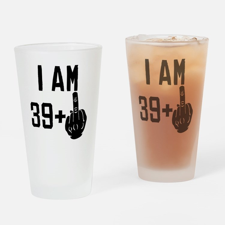 Middle Finger 40th Birthday Drinking Glass