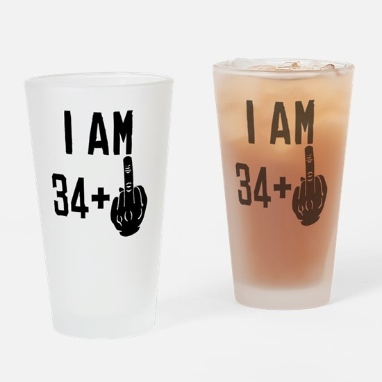 Middle Finger 35th Birthday Drinking Glass