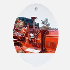 Red fire truck seat shot 3 Ornament (Oval)