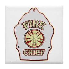 Fire chief helmet shield white Tile Coaster