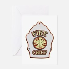 Fire chief helmet shield white Greeting Cards