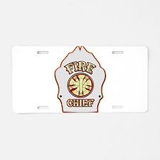 Fire chief helmet shield wh Aluminum License Plate