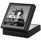 Rockland harbor breakwater Square Keepsake Boxes