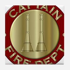 Fire captain emblem bugles Tile Coaster