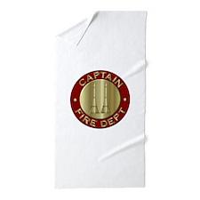 Fire captain emblem bugles Beach Towel