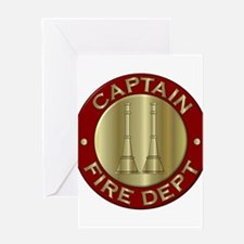 Fire captain emblem bugles Greeting Cards