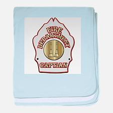 Fire Captain helmet shield white baby blanket