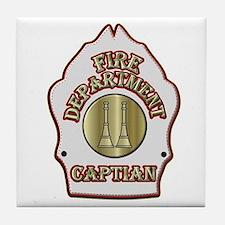 Fire Captain helmet shield white Tile Coaster