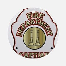 Fire Captain helmet shield white Ornament (Round)