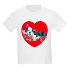 Boston Terrier Puppy Love Kids T-Shirt