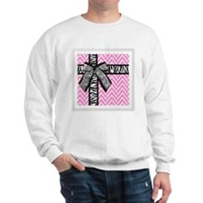 Pink and white with leopard bow Sweatshirt