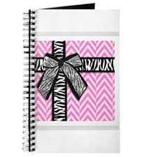 Pink and white with leopard bow Journal