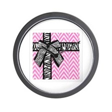 Pink and white with leopard bow Wall Clock