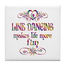 Line Dancing More Fun Tile Coaster