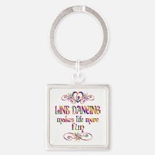 Line Dancing More Fun Square Keychain