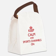 Keep Calm and Sports Channels ON Canvas Lunch Bag