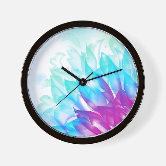 Abstract Dream Flower Blue Pink Art Wall Clock