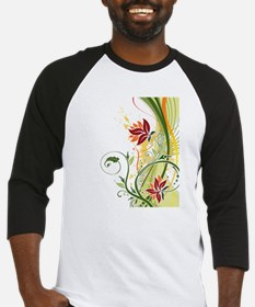 Stylish Abstract Floral Design Baseball Jersey