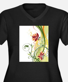 Stylish Abstract Floral Design Plus Size T-Shirt