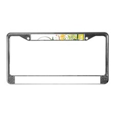 Stylish Abstract Floral Design License Plate Frame