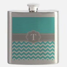 Teal Gray Chevron Monogram Flask