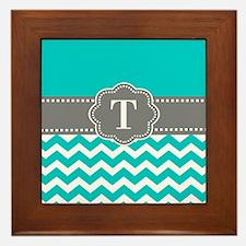 Teal Gray Chevron Monogram Framed Tile