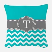 Teal Gray Chevron Monogram Woven Throw Pillow