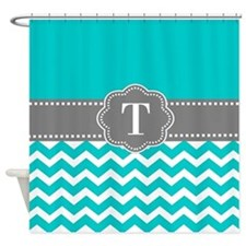 Teal Gray Chevron Monogram Shower Curtain