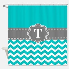 Teal Gray Chevron Monogram Shower Curtain