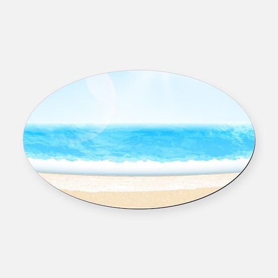 Sunny Tropical Ocean Beach Oval Car Magnet