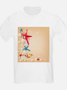 Decorative Summer Beach Sand Shells T-Shirt