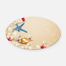 Decorative Summer Beach Sand Shell Oval Car Magnet